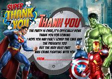 Compleanno Biglietto di ringraziamento VENDICATORI/Super Eroe/MARVEL HERO x8 + Buste ds2