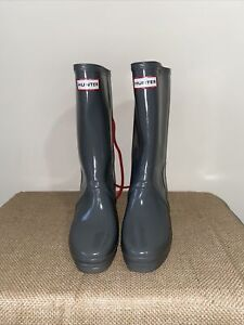 WOMENS HUNTER VERBIER GRAY WEDGE LACE RED WEDGE RAIN BOOTS SZ US 5-6