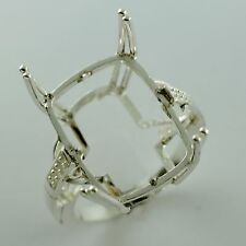 Semi Mount Ring Cushion Shape 14x18 MM Solid Sterling Silver Exotic Lady Jewelry