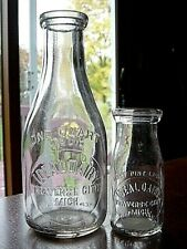 2) 1930s IDEAL DAIRY Traverse City MICHIGAN Mich. Mi 1/2pint & Quart milk bottle
