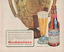 1947 Budweiser Beer Vintage Print Ad Good Taste Too Has Its Champion