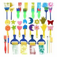 25 Pieces Kids Sponge Painting Brushes for Early Learning Mini Flower Spong N9J3
