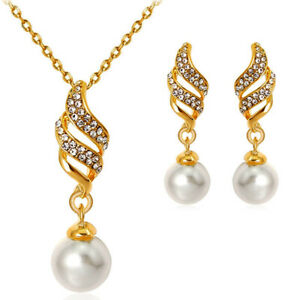 Pearl Jewelry Set Wedding Womens Earrings Pendant Chain Necklace 3in1 Gold CZ