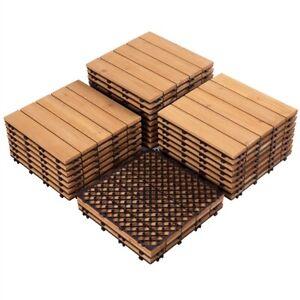 27pcs Patio Deck Tiles Interlocking Wood Flooring Pavers Tiles Outdoor Used