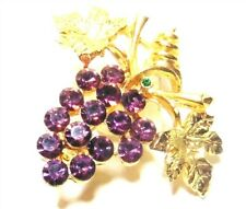 Vintage Goldtone Amethyst Crystal Grape vine Pin / Brooch