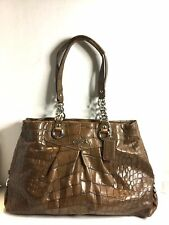 COACH Brown Croc Leather ASHLEY Shoulder Bag Purse Satchel 17661 Carry All Tote