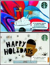 2x STARBUCKS 2015 LATTE COFFEE RAINBOW HAPPY HOLIDAYS COLLECTIBLE GIFT CARD LOT