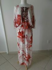 GORGEOUS Roberto Cavalli Embellished Dress IT 44, CHIFFON SILK, WHITE - RED,NEW