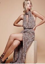 Anthropologie Free People Animal Instincts Leopard Halter Maxi Dress 2 New