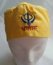 Sikh Punjabi Yellow Kids Infants baby patka pathka Khanda bandana Head Wrap Gear
