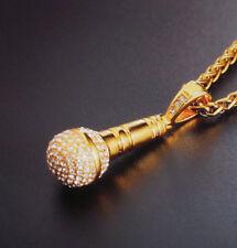 Edelstahl Halskette Zopfkette mit Anhänger Mikrofon Musik Strass Fb Gold 1522