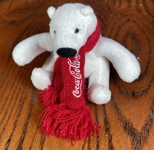 "Coca-Cola MINI COKE POLAR BEAR 4"" Plush STUFFED ANIMAL TOY"