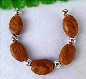 5Pcs 12x8x5mm Brown Natural Wood Grain Stone Oval Height Holes Bead BT93703