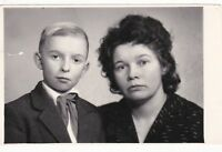 1964 Beautiful family cute pioneer boy with mother fashion Russian Soviet photo