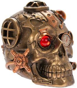 Gothic Steampunk Skull Figurine. Industrial cyberpunk retro-futuristic