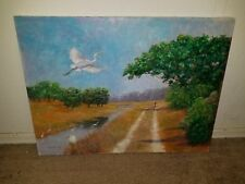 Unframed 24X18 Signed Howard Scherer Oil On Canvas Cranes Flying By Stream Path