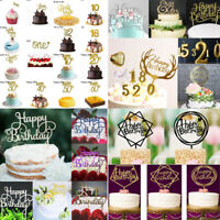 """Creative Gold Silver Cake Topper """"Happy Birthday""""10th-60th Party Supplies Decors"""