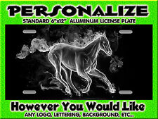 Mustang Horse Flames Grey  background PERSONALIZED Monogrammed License Plate