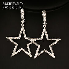 Crystal Hollow Big Star Drop Dangle Earrings White Gold Brand Wedding Jewelry