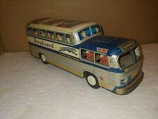 Vintage 1950s Greyhound Scenicruiser Lithograph Tin Bus Toy,Friction,Japan,Daito