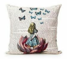 Steampunk  victorian butterfly book alice in wonderland Cushion Cover Linen