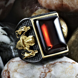 Mens Egyptian Ring Vintage Mythological Pharaoh Symbol Rings Huge Tutankhamun