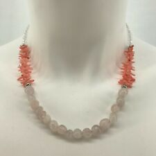 Handmade Necklace Rose Quartz Nuggets and Pink Coral with Czech Glass Beads