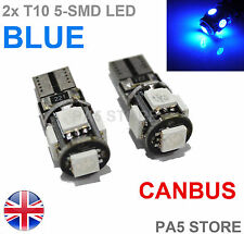 2x BLUE 5 SMD LED 501 T10 W5W CANBUS SIDE LIGHTS NUMBER PLATE INTERIOR BULBS