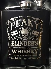 PEAKY BLINDERS Whiskey logo HIP FLASK black 6oz stainless steel shelby bros NEW