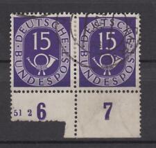 Bund Posthorn Michel Nr. 129 waagerechtes Paar gestempelt 15 Pfennig 180,--€