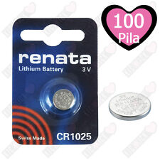 100 x Renata Batteria cr1025 LITIO 3v PILA A BOTTONE CR 1025 pila a bottone