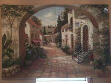 Quaint Town Fine Art Tapestry  H 50 x W 70 USA