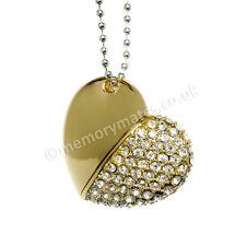 2GB Gold Diamond Sparkly Heart Novelty USB Flash Drive/Wedding/Gift/Sparkly