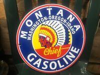 "Montana Washington Oregon Idaho porcelain 12"" chief gasoline sign"
