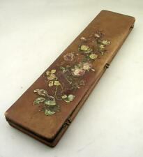 LATE '800 STUNNING ANTIQUE LEATHER EXPANDING GLOVE BOX & GLOVES