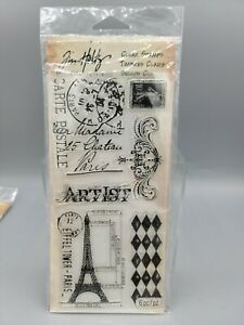 Clear Stamp Set by Tim Holtz Stampers Anonymous French Market Eiffel Tower Paris