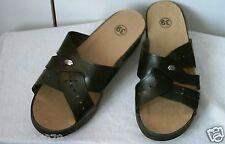Womens Black Pattern Double Strap Wedge/Slip On/Sandal/NWB,Euro 39/Size 6