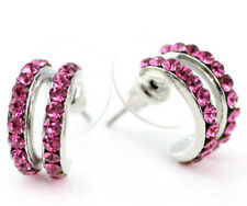 Pink Huggie Earrings use Swarovski Crystal SE018