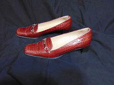 "TALBOTS Chunky 1.5"" Heel Shoes 7.5 M Auburn Croc Leather/Rubber Italy Horsebit"