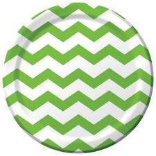 "Chevron Polka Dots Fresh Lime Modern Party Supplies 9"" Paper Dinner Plates"