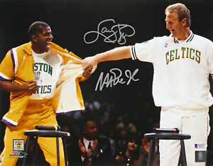 Magic Johnson & Larry Bird Authentic Signed 11x14 Retirement Photo BAS Witnessed