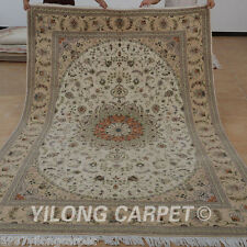 Yilong 6'x9' Handmade Wool Silk Area Rugs Quality Weave Hand Knotted Carpet 1443