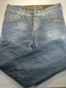 G STAR RAW Distressed Denim Jeans Sz 30 x 32 Mens Core Regular Button Fly GSTAR