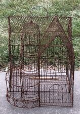 Vintage Large Victorian Gingerbread House Domed Twisted Wire Hanging Bird Cage