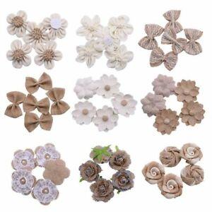Hessian Jute Burlap Handmade Flowers Heads Wedding Reception Decoration 5pcs/Lot