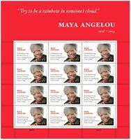 Maya Angelou Sheet of 12 Forever Postage Stamps Scott 4979