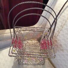 Set of 3 Metal Square Easter Baskets