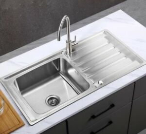 1.0 BOWL STAINLESS STEEL KITCHEN SINK UNIVERSAL DRAINER  + TAPS  AND WASTE