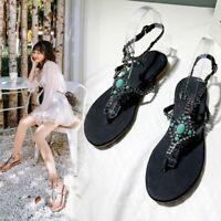 Women Sandals clip toe Beads Rhinestones SLingback SUmmer Flat Shoes Plus size