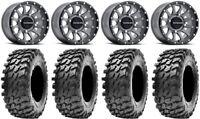"Raceline Trophy 14"" Wheels Grey +38mm 32"" Rampage Tires Can-Am Defender"